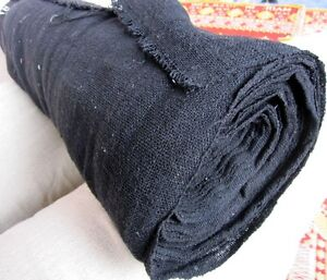 Thick Widely Woven Rough Sack Like Thick Cotton Fabric - Black - 1 yard x 1 yard