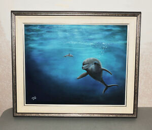 Dolphin Greeting Underwater Painting in Cloth Mat & Wood Frame