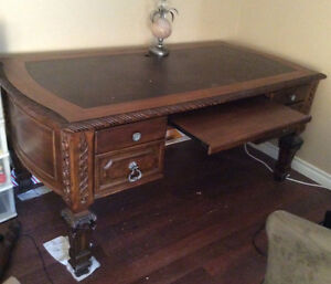 Amazing wood Large old desk with slide out