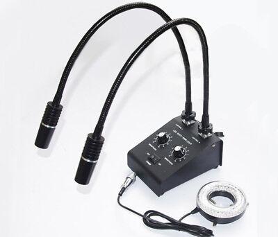 Powerful Led Dual Goose-neck Microscope Illuminator Light 60 Led Ring Lamp
