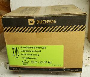 Duchesne 2 1/2 inch oval head siding nails.  50 lb box