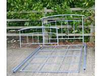 Silver Metal Double Bed 4ft 6in Dismantles into Four Sections - Easy to collect