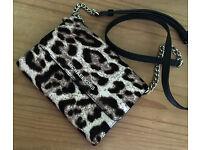 Michael Kors JS French Binding Leopard Calf Hair Crossbody Large Smartphone Bag