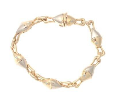 Authentic Bvlgari Bulgari 18k Yellow & White Gold Fish Link Bracelet