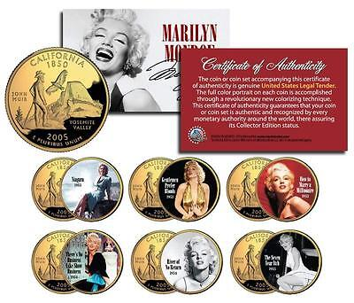 MARILYN MONROE MOVIES Colorized California Quarters U.S. 6-Coin Set * LICENSED *