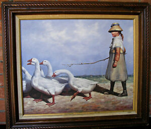 Painting by William Hampton, Girl Herding Geese with a stick