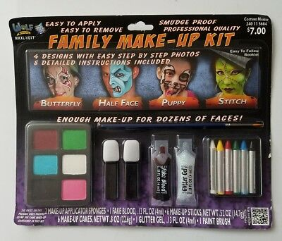 Wolf Novelties Family Makeup Kit Smudge Proof Halloween w/ Instruction Booklet