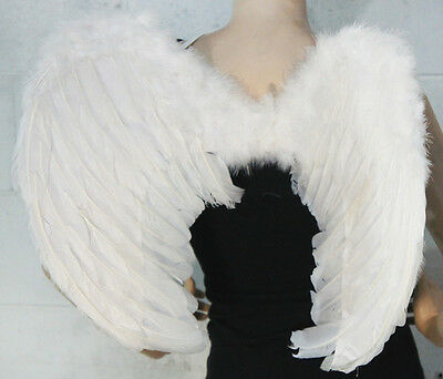 Gothic Angel Halloween Costume (Sexy WHITE FEATHER Angel WINGS Gothic Fancy Dress Halloween Costume)