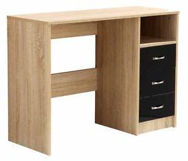 High gloss black 3 drawer kids study desk any age