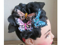 Handmade Butterfly black flower red band fascinator Ascot hat