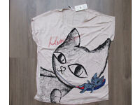 Loose soft T shirt tunic top with Kitty cat meow print in front fit UK size 16/18 BNWT
