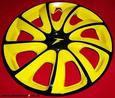4 Radkappen TURBINE schwarz glanz-gelb mit Klarlack 14 Zoll--NEU--TOP
