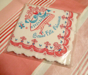 Serviettes de table vintage en papier Bonne Fête Princesse