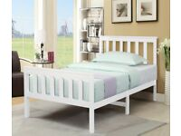 Single Size White Wooden Bed Frame Solid Pine for Adults, Kids, Teenagers