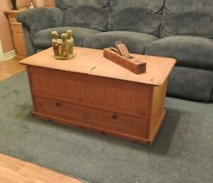 Wooden coffee table , end tables and wall unit set