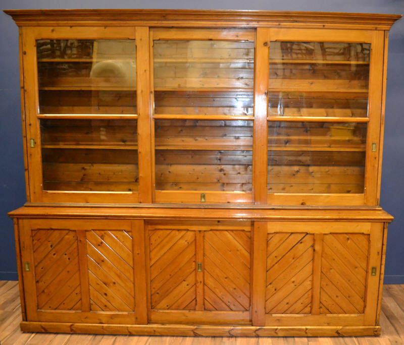 HUGE ANTIQUE VICTORIAN BOOKCASE / SHOP FITTING / HABERDASHERY CABINET CIRCA 1870