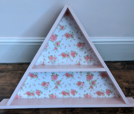 Sweet girls pink floral shelves storage display bedroom