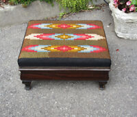 Vintage Wood Foot Stool - Bargello Needlepoint Covering