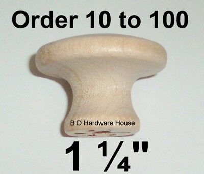 """1 1/4"""" - Birch Wood Cabinet Knob Pulls / Drawer Knobs - Select Option 10 to 100"""