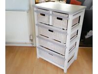 Grey and White Rattan Chest of Drawers Storage