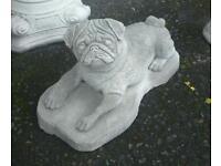 Concrete garden ornament pug dog