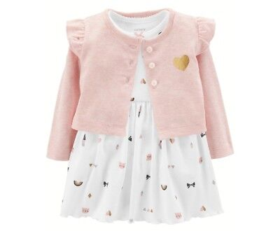 Carters Baby Girls Kitty Cardigan Bodysuit Dress Set (Carters Infant Dresses)