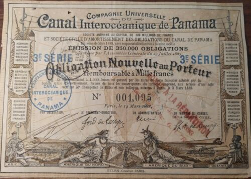 Panamanian 1888 Paris Canal Interoceanique 1000 Francs NOT CANCELLED Bond Loan