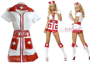 Hot & Sexy Adult Women White Nurse Costume Halloween Fashion Outfit Fancy Dress