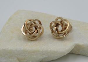 Solid 14k Yellow Gold 12mm Love Knot Stud Earrings 2 Grams Not Scrap