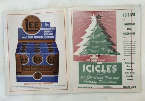 1940s DRUG STORE Catalog ICICLES Christmas CHEIF LEE TUBE PATCH Medicine VINTAGE