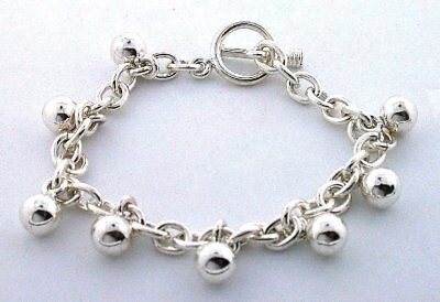 8 Inch Oval PURE Sterling Silver Bracelet With Ball Dangles EBS1947
