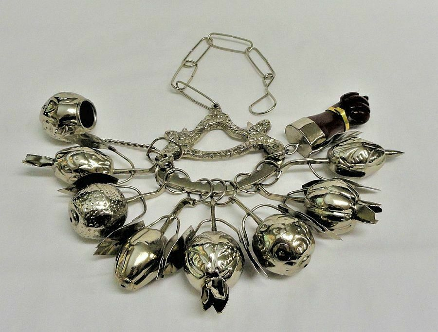 Afro-Brazilian Penca De Balangandan Silver Slave Charms Amulet Figa Fist 220g - $38.00