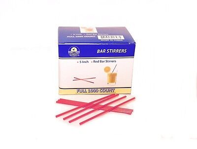 1000 Premium Red Sipper Stirrer Straws 5 Inch Bar Coffee Snow Cone Free Shipping