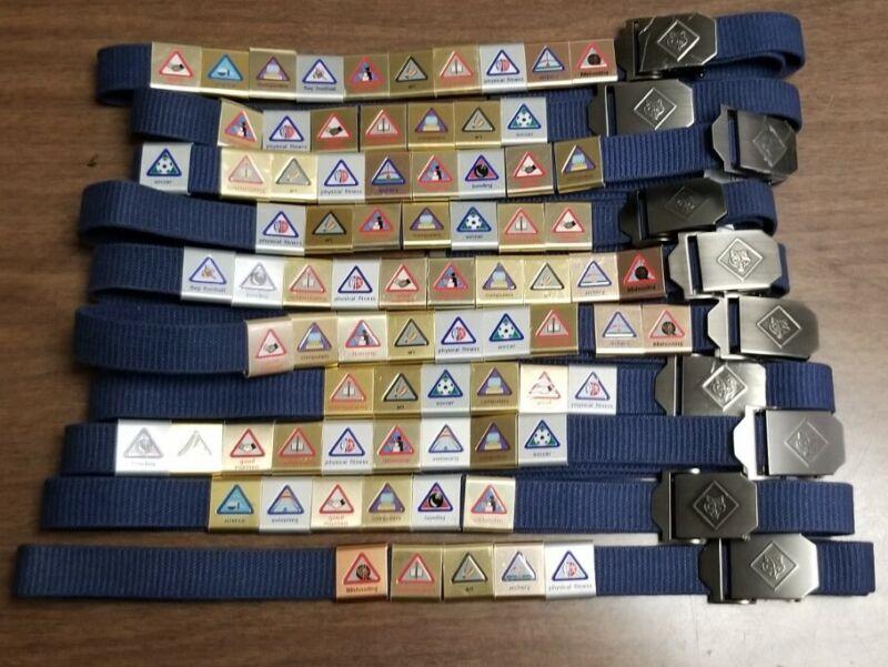 Cub Scout10 Blue Belts  Solid Brass Buckles 76Activity Badges Slides Boys M-L 42