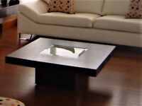 Beautiful square wood coffee table with frosted glass in the centre in great condition