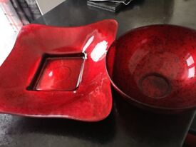 Glass bowl and charger / serving plate