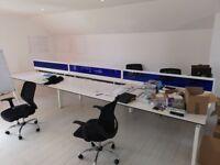Office Bench Desks x2 (Each desk sits 6 people) - White worktops