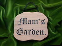 Rustic hand carved hardwood garden plaque.