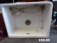 Vintage single Ceramic belfast style kitchen Sink shabby chic upcycle