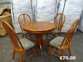 country kitchen round pedestal table 4 large back chairs restoration shabby chic