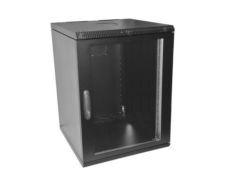 FULLY ASSEMBLED 12U 500mm deep wall mount cabinet rack, glass door W/lock, Black