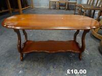 oval Coffee table scolloped edge shelf underneath restoration shabby chic
