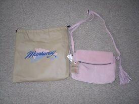 Mantaray dusky pink suede handbag, new with labels