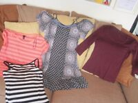 Ladies clothes and accessories, 15 items, mainly size 12, tops, dress, hats, scarf, gloves