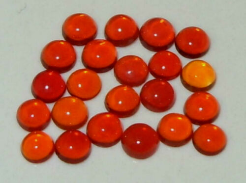 3mm 2pcs MEXICAN MIXED COLOR  NATURAL FIRE OPAL ROUND CABOCHONS - 2 STONES