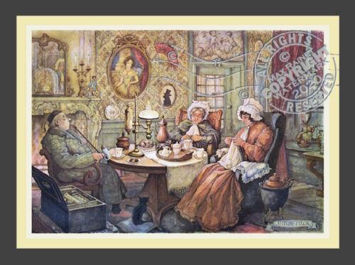 In the Parlor for Tea Mending * Dutch Baroque black cat * ANTON PIECK  Art Print