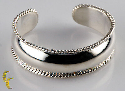 Sterling Silver Cuff Bracelet Rope Borders Polished Finish Great Gift for -