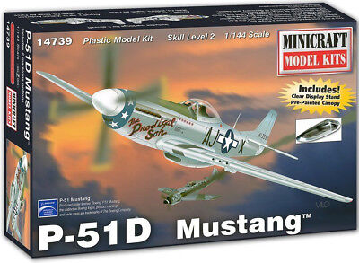 Minicraft P-51D Mustang W/ Stand & Canopy 1/144 Plastic Model Plane Kit 14739
