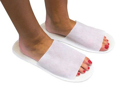 25 Paar Einmal Vlies Slipper Einmalschuhe Einweg Schuhe weiss  Universalgröße