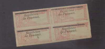 Panama 1904 Registration Stamp 20c red on blue unmounted mint block of 4